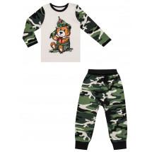 """Комплект для мальчиков камуфляжной расцветки """"Медведь в буденовке"""""""