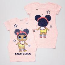 """Платье цвета розовый меланж с изображением куколки и блестками """"Лола"""""""