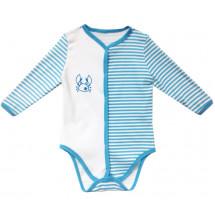 Боди в голубую полоску для малышей с застежкой по центру