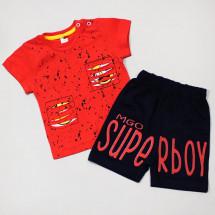 """Комплект кораллово-синий на мальчика """"Super boy"""" (шорты и футболка)"""