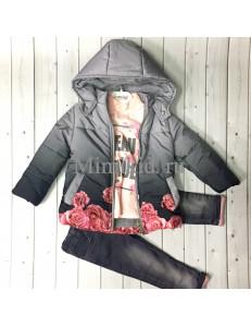 Комплект для девочек с серой курткой bebus из 3-х предметов