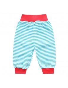 Штанишки в голубую полоску для малышей с красным пояском