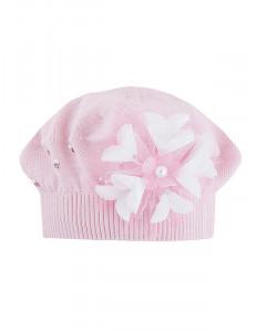 """Берет розового цвета с пышным цветком """"Виолетта"""""""